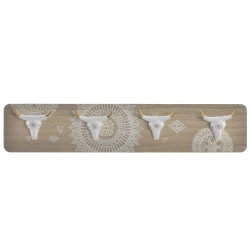 Perchero pared de 4 colgador madera resina boho