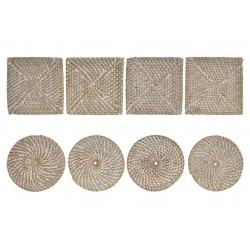 Set 8 posavasos de fibra natural trenzado