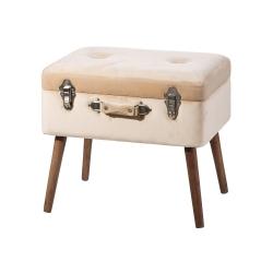 Banqueta baúl de madera beige vintage para decoración France