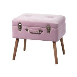 Banqueta baúl de madera rosa vintage para decoración France