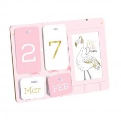 Calendario infantil rosa con portafoto integrado