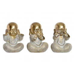 Set 3 figurita buda de suerte poliresina decoracion 16 cm . (ver , oir , callar )
