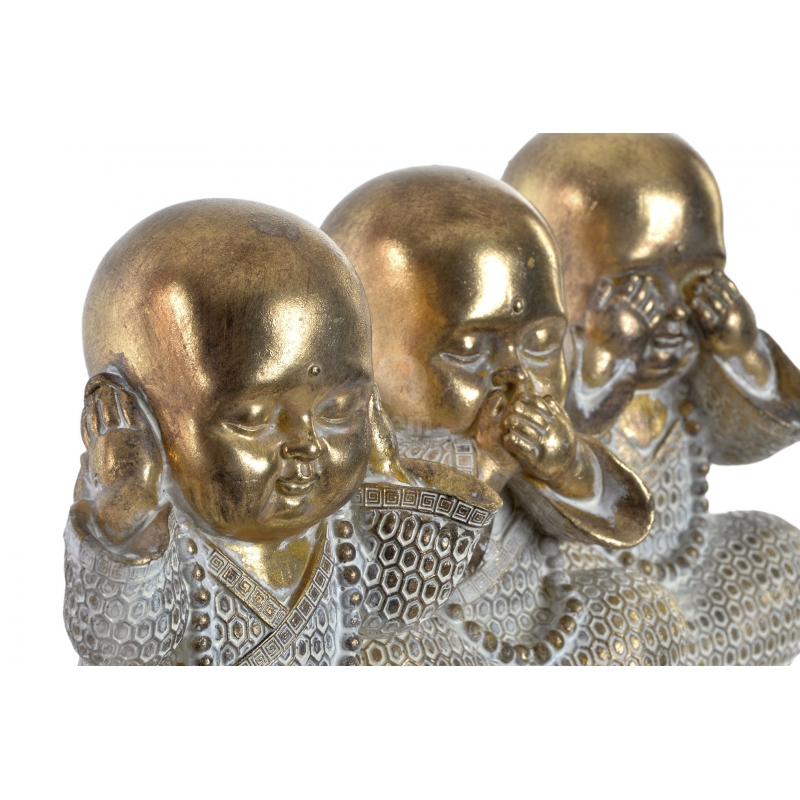 Set 3 Figurita Buda De Suerte Poliresina Decoracion 16 Cm Ver Oir Callar Dcasa Es