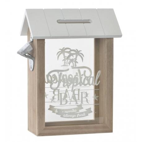 Caja guardacorchos y tapones de madera y cristal con abrebotellas