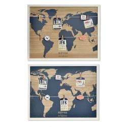 Pack 2 Portafotos mapa mundo con pinzas 40x50