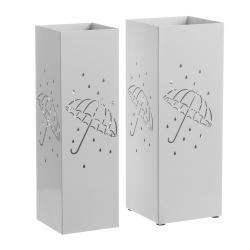 Pack 2 Paraguero metal blanco minimalista