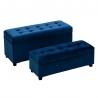 Baúles pie de cama tapizados de terciopelo azules clásicos para dormitorio Iris