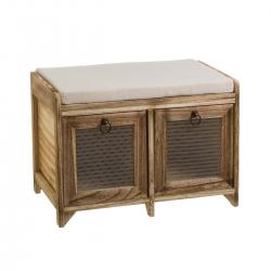 Banqueta de pie de cama de madera natural marrón rústica para dormitorio Bretaña