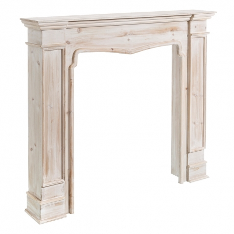 Estante chimenea de abeto blanco clásico para salón Vitta