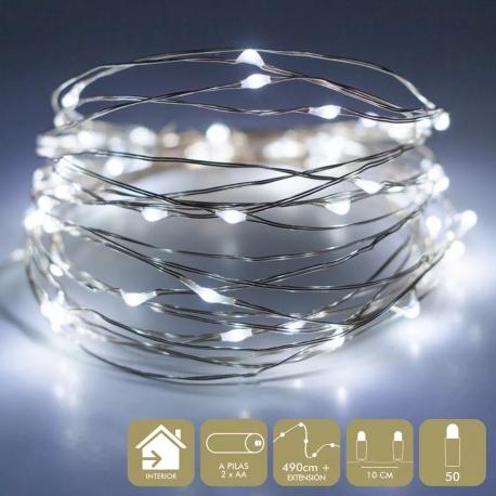 Luces led modernas blancas de metal para decoración Christmas 50 bombillas