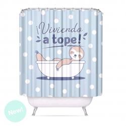 """Cortina de baño moderno poliester """"PEREZOSO"""" 180x200 cm"""