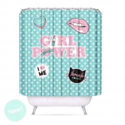 "Cortina de baño moderno poliester ""GIRL POWER"" 180x200 cm"