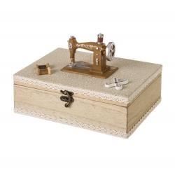 Costurero caja de madera beige romántico para salón France