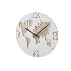 Reloj de pared mapamundo de madera blanco nórdico para decotacion Vitta