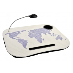 Bandeja para portatil con luz de led mapa mundo azul