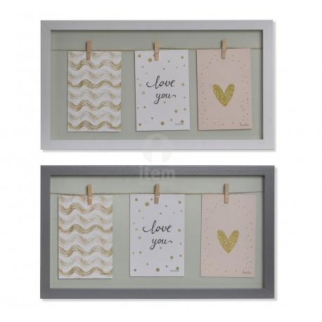 Set 2 Marco de fotos con pinzas de madera blanco y gris