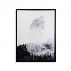 Cuadro blanco negro Hoja nube