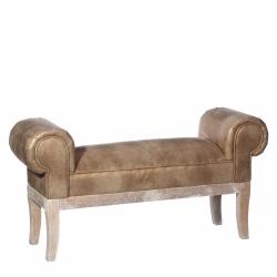 Banqueta de pie de cama rústica dorada de madera para dormitorio Bretaña