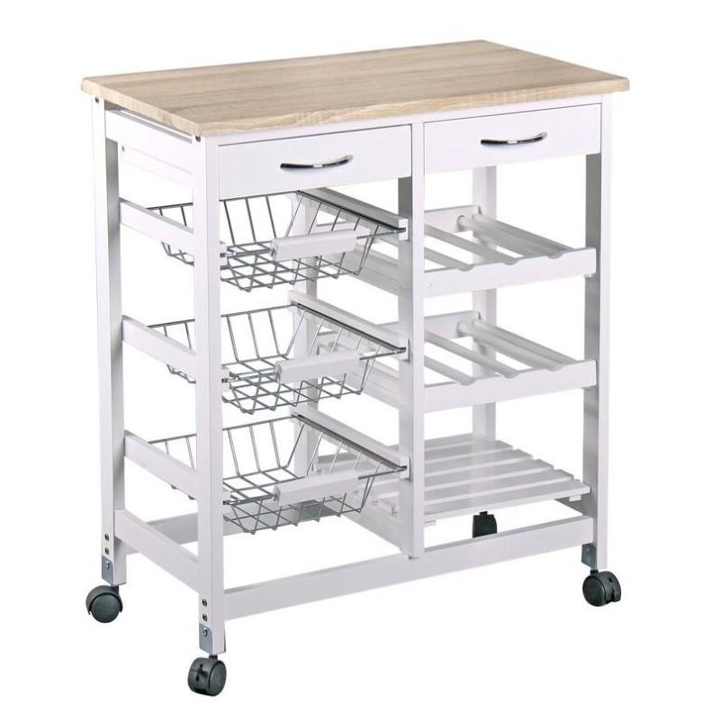 Carro verdulero moderno nordic de madera para cocina basic for Mesa carrito auxiliar de cocina
