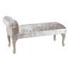 Banqueta pie de cama de madera plateada clásica para dormitorio France
