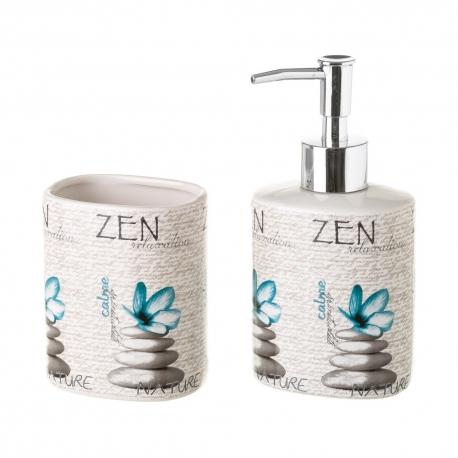 Dispensador y portacepillos zen de cerámica azules orientales para cuarto de baño Sol Naciente