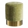 Puff tapizado de terciopelo verde moderno para salón Bretaña