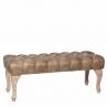 Banqueta pie de cama rústica dorada de madera para dormitorio Bretaña