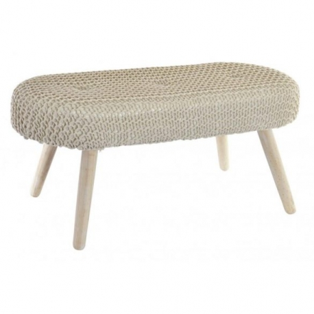 Mueble descalzador madera algodon crema .