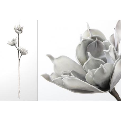 Rama con flores foam en tonos gris 83 cm