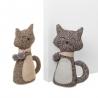 Set de 2 Sujetapuertas de gato marrón de tela / arena clásico para dormitorio Bretaña