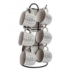 Tazas de cafe ceramica con soporte paris 90 cc .