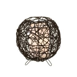 Lámpara de mesa de rattan natural negro étnico para dormitorio Factory