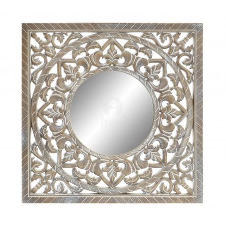 Mural de espejo tallada natural etnico envejecido 50x50 cm