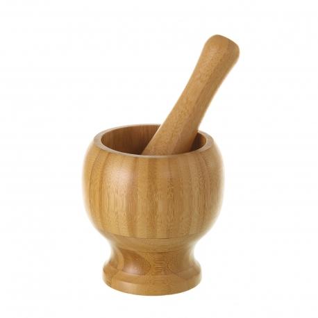 Mortero con mazo oriental marrón de bambú para cocina Sol Naciente