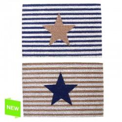 Felpudo original de fibra de coco y base de goma diseño estrella rayas 60 x 40 cm