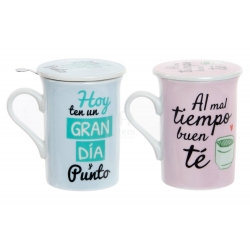 Tazas con filtro y tapa diseño original frases positivas (Set de 2 tazas)