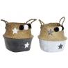 Juego de 2 cestas con pompones de fibra estrellas