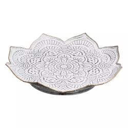 Centro de mesa metal flor gris blanco