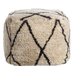 Puff de pelo de algodón natural beige nórdico para salón Factory