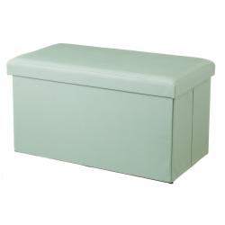 Puff de pie de cama de madera tapizado verde clásico para dormitorio Basic