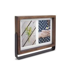 Marco de fotos giratorio para 2 imágenes 10 x 15 cm, realizado en madera y metal, Color Madera natural