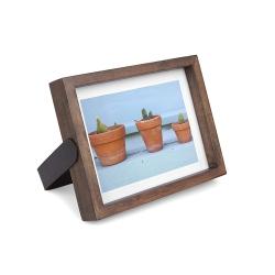 Marco de fotos giratorio para 13 x 18 cm, realizado en madera y metal, Color Madera natural