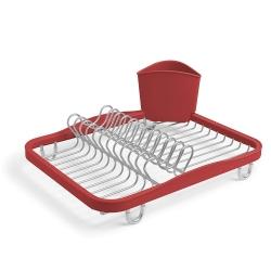 Escurreplatos Fregadero tendedero con soporte del utensilio rojo