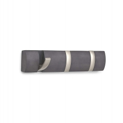 Perchero de pared color Nickel, 3 Ganchos plegable .