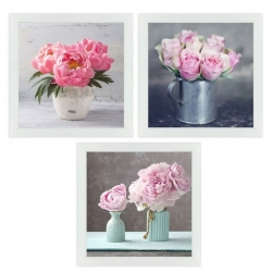 Set 3 cuadro lienzo flores con marco 30x30 cm