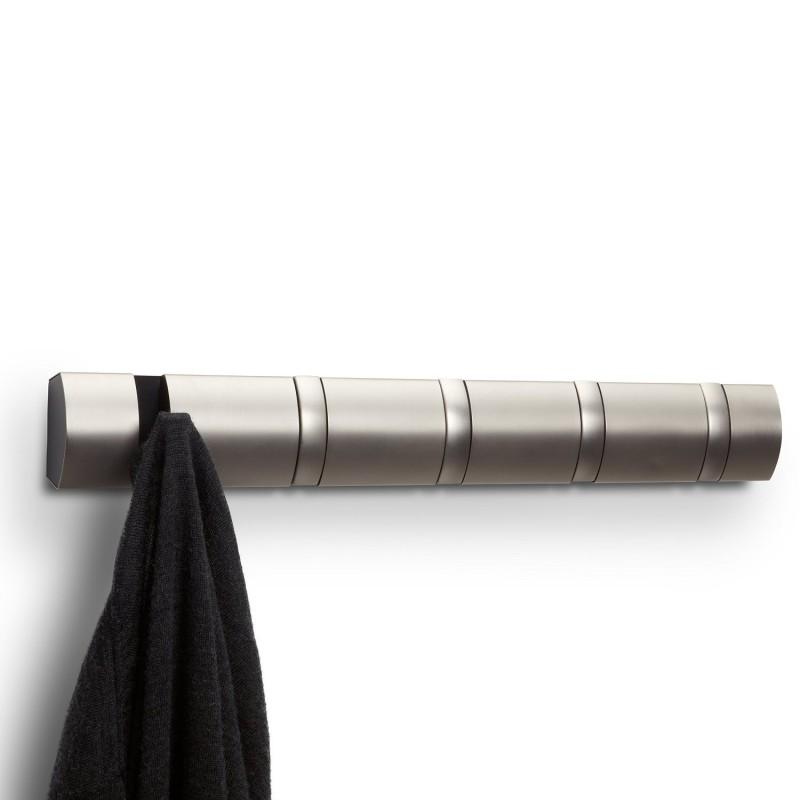 Perchero de pared con ganchos plegable en metal 5 ganchos for Ganchos de perchero