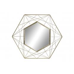 Espejo metal de pared dorado exagonal 50x44 cm