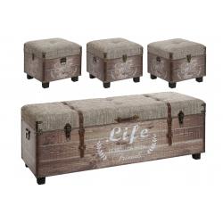 Set descalzadora y 3 baules de madera con tapa