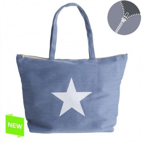 Bolso moderna azul estrella con cremallera