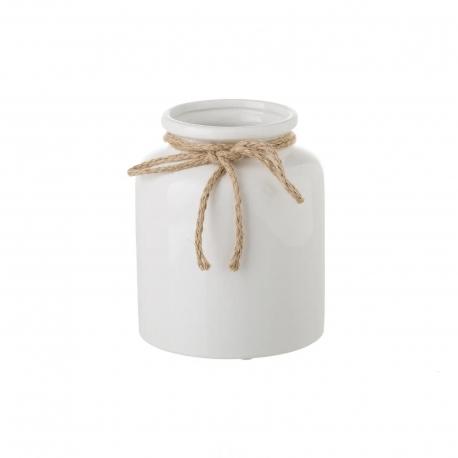 Jarrón de cerámica blanco de diseño rústico para decoración